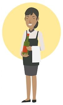 Una ragazza cameriera porta il vino dell'ordine all'ospite