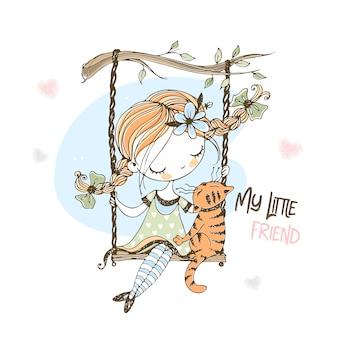 Una ragazza carina con le trecce oscilla su un'altalena con il suo gatto.