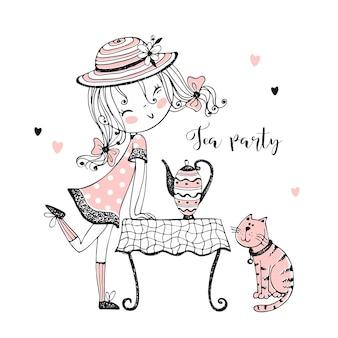Una ragazza carina con un cappello ti invita al tè con il suo gatto.