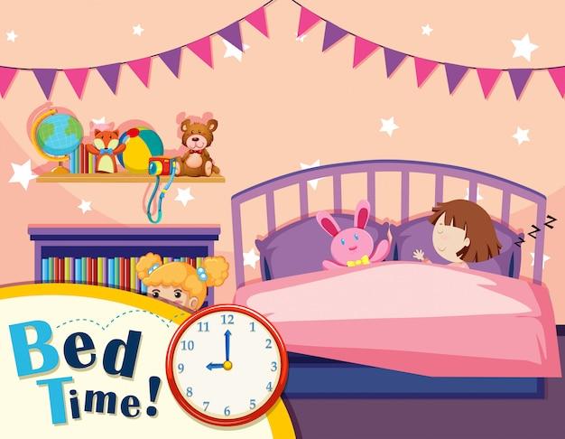 Una ragazza che dorme nella camera da letto