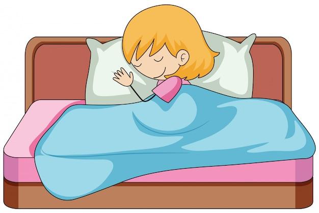 Una ragazza che dorme sul letto