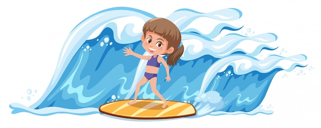 Una ragazza che fa surf sulla grande onda