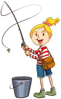 Una ragazza che pesca su sfondo bianco