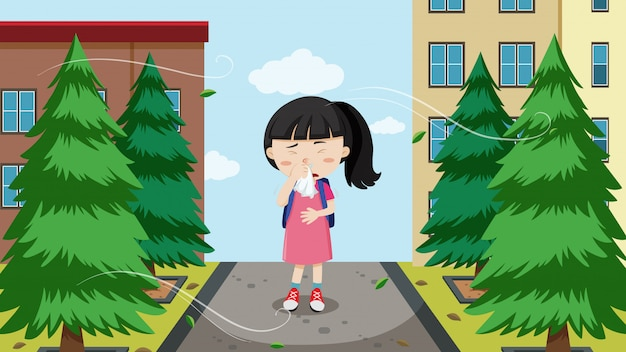 Una ragazza con allergie