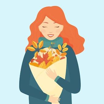 Una ragazza con i capelli rossi e un bouquet di foglie autunnali su sfondo azzurro. tema autunnale. illustrazione.
