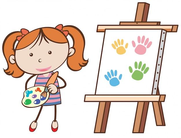 Una ragazza con una tavola di pittura