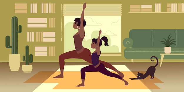 Una ragazza dalla pelle scura con una sorella o una figlia più giovane pratica yoga a casa.