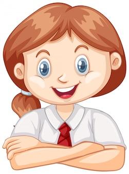 Una ragazza felice su bianco