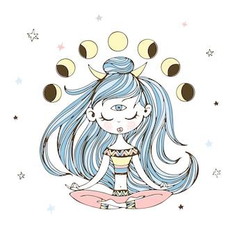 Una ragazza nella posizione del loto medita. esoterista.
