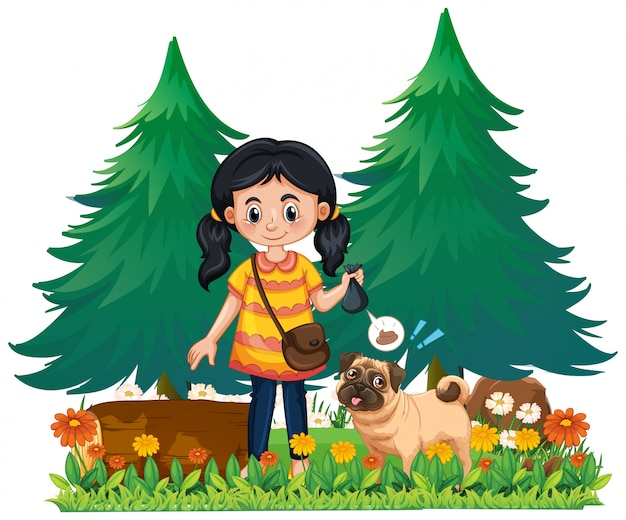 Una ragazza prende la cacca di cane