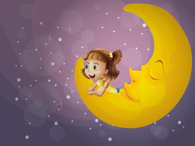 Una ragazza seduta sulla luna