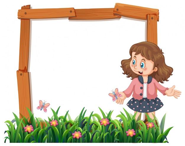 Una ragazza sulla cornice in legno