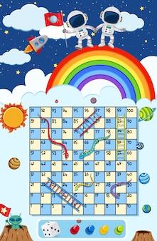Una scala serpente gioco tema spaziale themplate