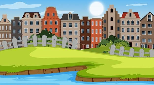 Una scena all'aperto con la casa di amsterdam
