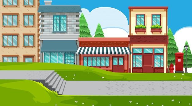 Una scena all'aperto con negozi