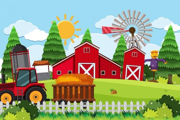 Una scena all'aperto con un magazzino o una fattoria