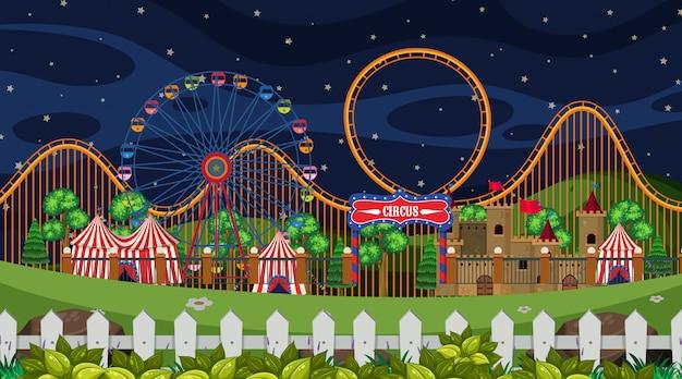 Una scena da circo di notte