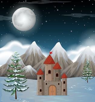 Una scena invernale notturna della luna