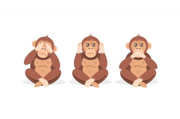 Una scimmia di tre cartoni animati che si siede con gli occhi chiusi, la bocca e le orecchie isolate su fondo bianco