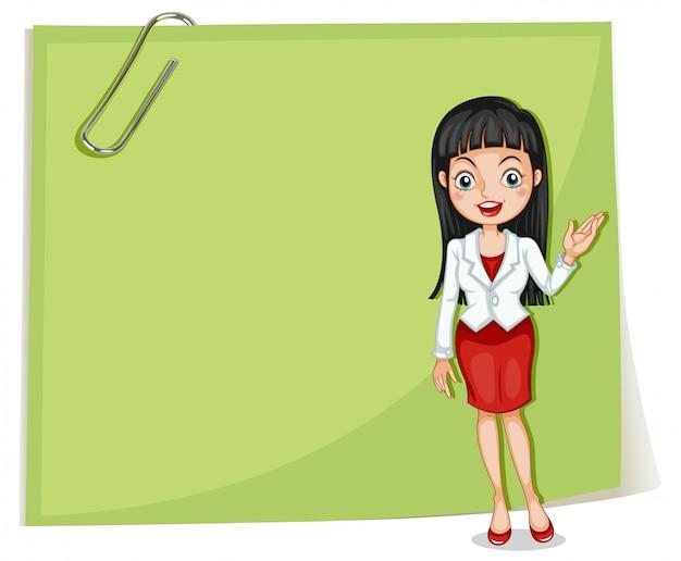 Una segnaletica vuota con una donna d'affari
