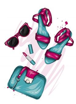 Una selezione di eleganti accessori da donna. illustrazione alla moda. vettore per biglietto di auguri o poster, stampa su vestiti. fashion style. scarpe, borsa, occhiali, cosmetici. profumo e rossetto