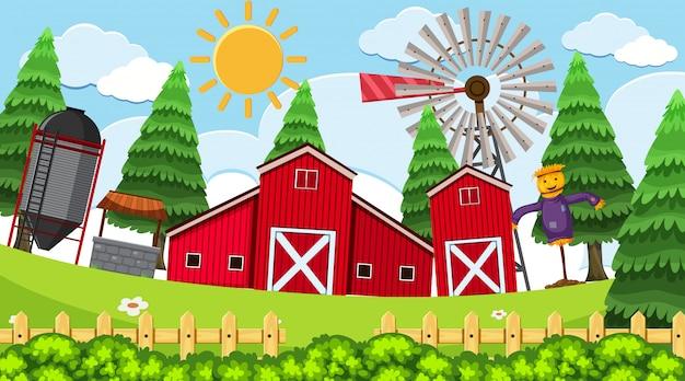 Una semplice scena di fattoria rurale