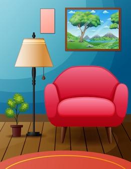 Una semplice stanza con sedie e mobili