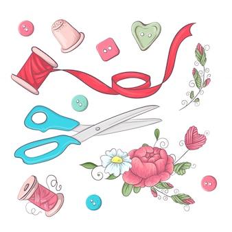 Una serie di accessori da cucire.