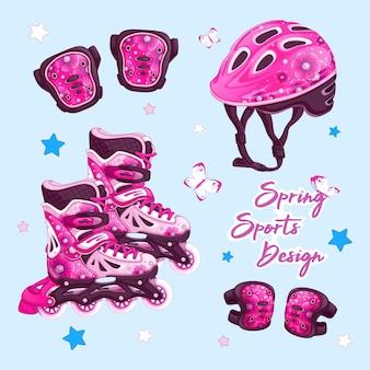 Una serie di articoli sportivi per rollerblade con un disegno floreale.