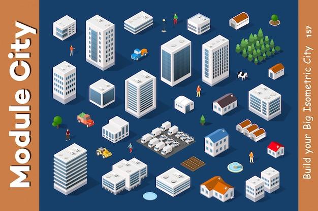 Una serie di città isometrica