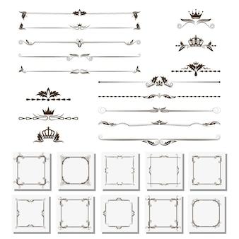 Una serie di elementi di design, cornici, divisori, bordi.