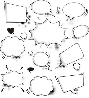 Una serie di fumetti ed elementi di discorso