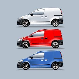 Una serie di furgoni per il montaggio del tuo annuncio. modello a strati
