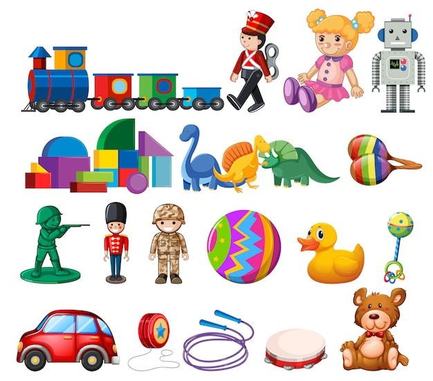 Una serie di giocattoli per bambini