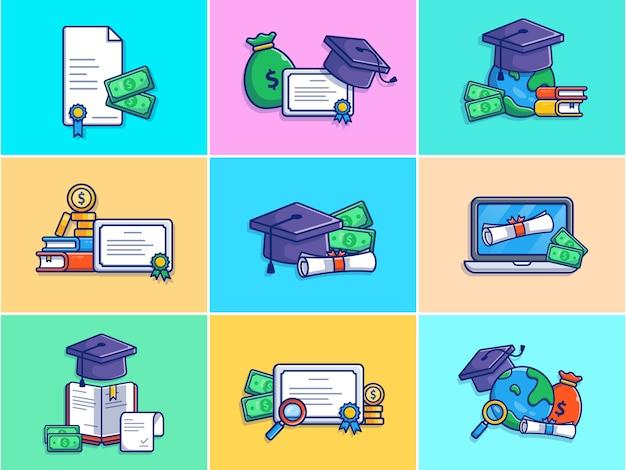 Una serie di illustrazione borsa di studio.