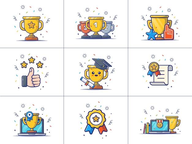 Una serie di illustrazione di ricompensa