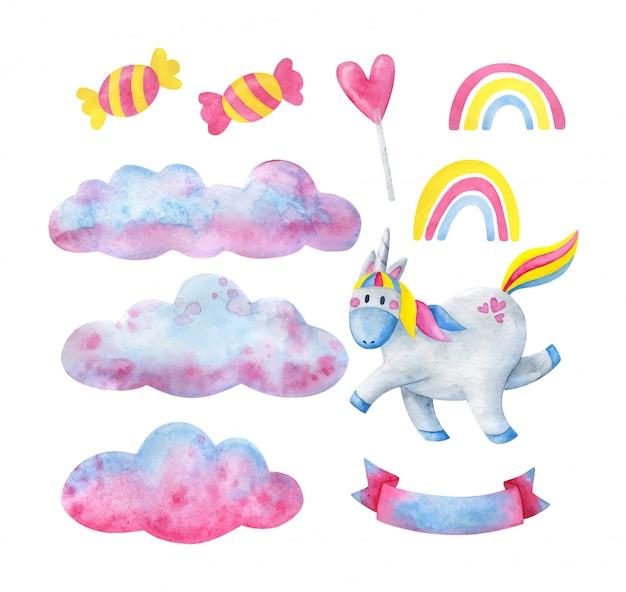 Una serie di illustrazioni decorative per bambini con un unicorno allegro.