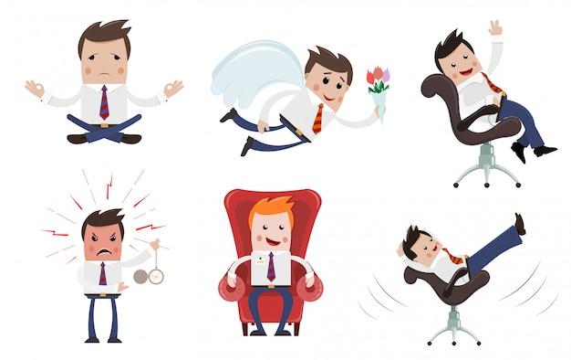 Una serie di immagini di uomini d'affari in varie pose.