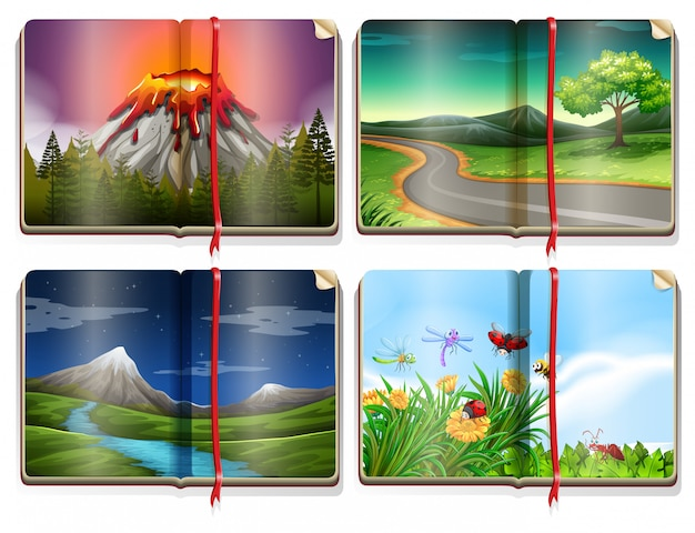 Una serie di libri di paesaggio