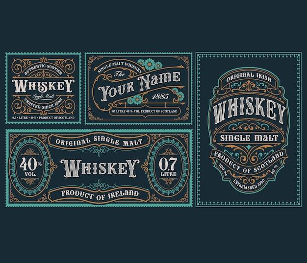 Una serie di modelli di etichette alcoliche vintage per imballaggi e molti altri usi.