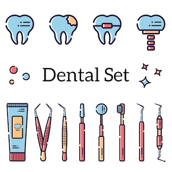 Una serie di oggetti per l'odontoiatria
