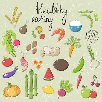 Una serie di oggetti vettoriali sul tema del mangiar sano