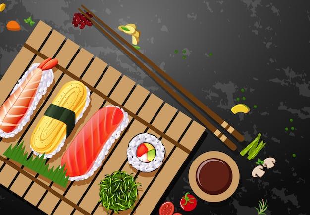 Una serie di piatti a base di sushi