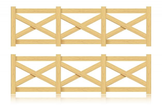 Una serie di recinzione in legno. isolato.