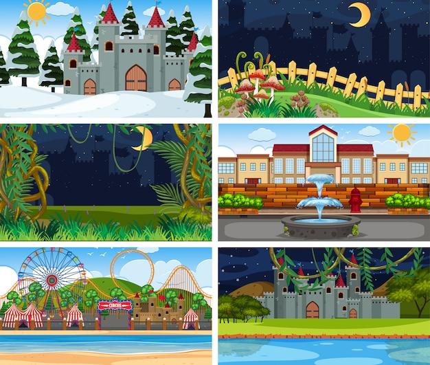 Una serie di scene all'aperto tra cui la costruzione