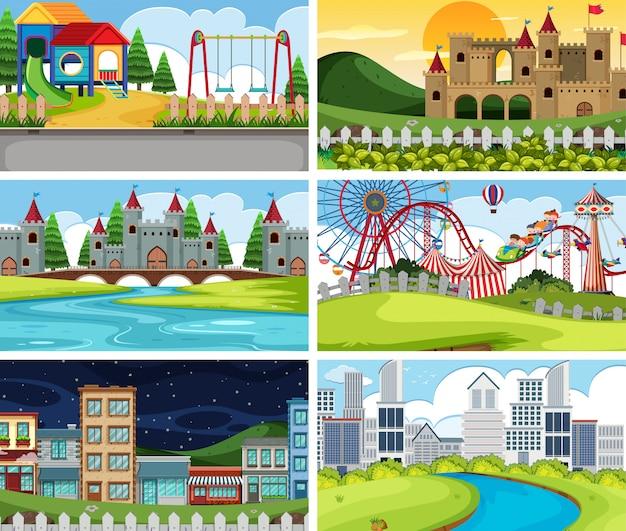 Una serie di scene all'aperto tra cui un parco giochi