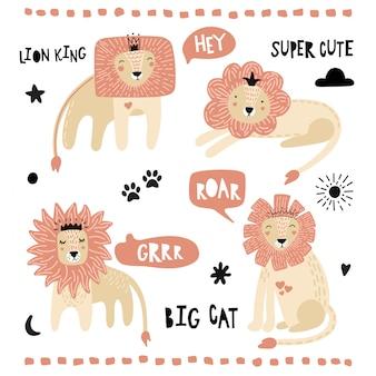 Una serie di simpatici leoni
