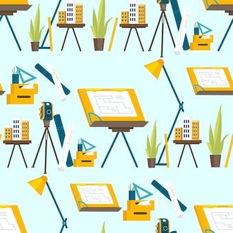 Una serie di strumenti di lavoro per l'architetto al lavoro