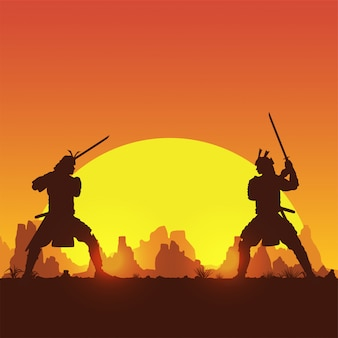 Una siluetta di due combattimenti giapponesi della spada del samurai, illustrazione