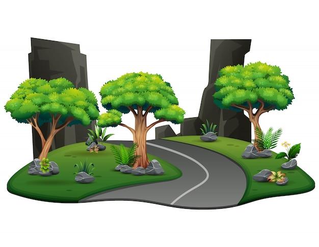 Una strada naturale per l'illustrazione della foresta